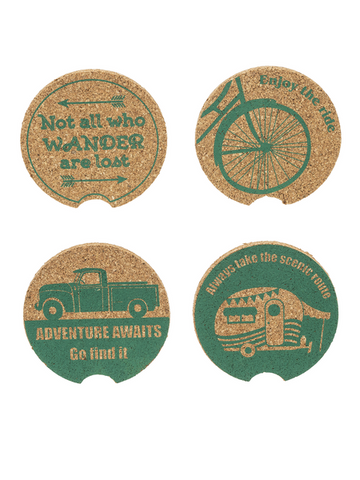 """Adventure Awaits"" Coasters (Set of 4)"