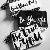 Inspirational Makeup Bags - Black & White With Tassels