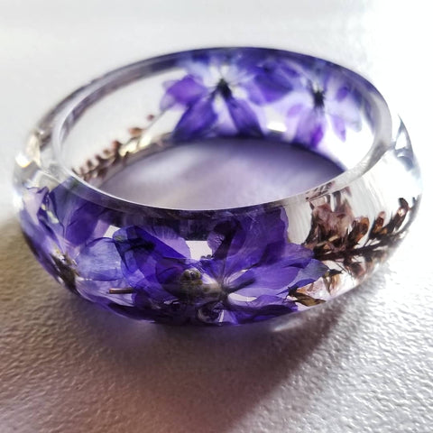 Flower Resin Bracelet, Style #9: Purple Flowers
