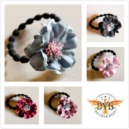 Flower Hair Ties, 5-Color Variety Pack