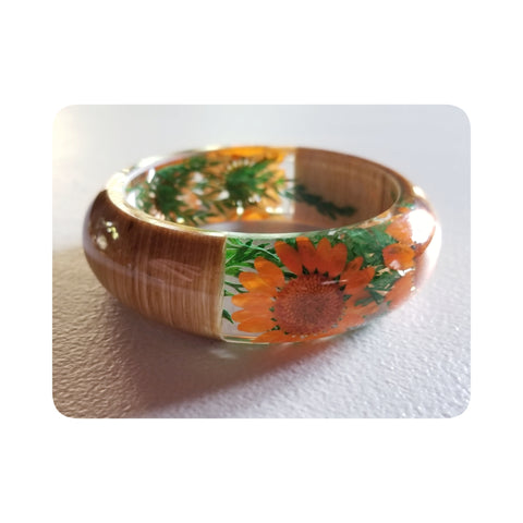 Flower Resin Bracelet, Style #6: Orange Daisies with Wood Accents