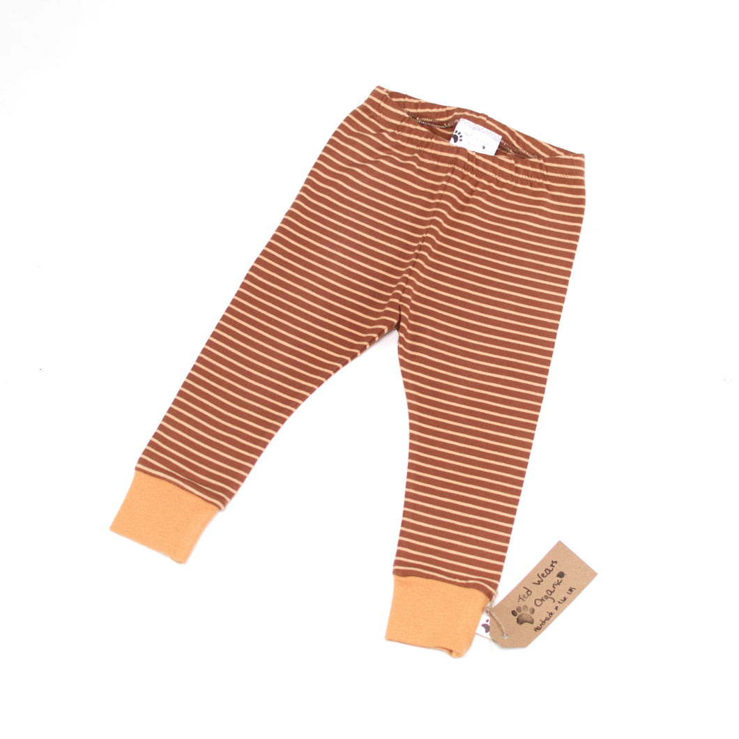 9-12m Caramel Stripes Organic Leggings