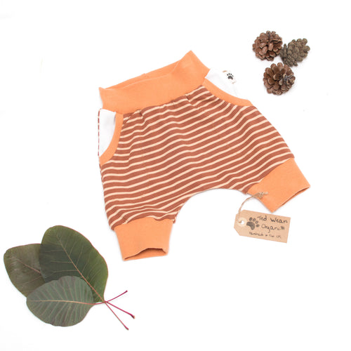 3-6m Caramel Stripes Organic Shorts