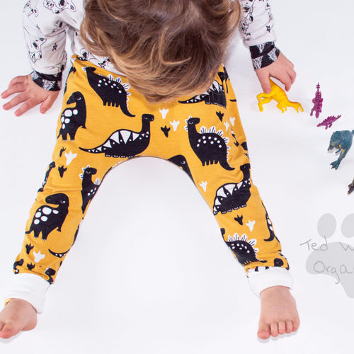 Yellow Dinos Organic Harem Pants