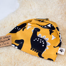 Yellow Dinos Organic Slouchy Snap Hat