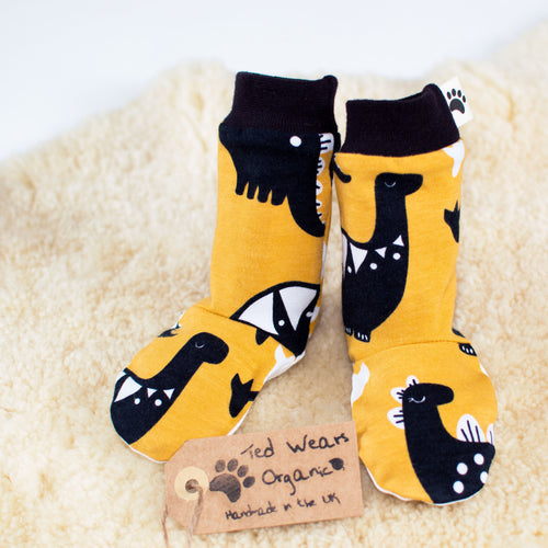 Yellow Dinos Organic Leg Warmers