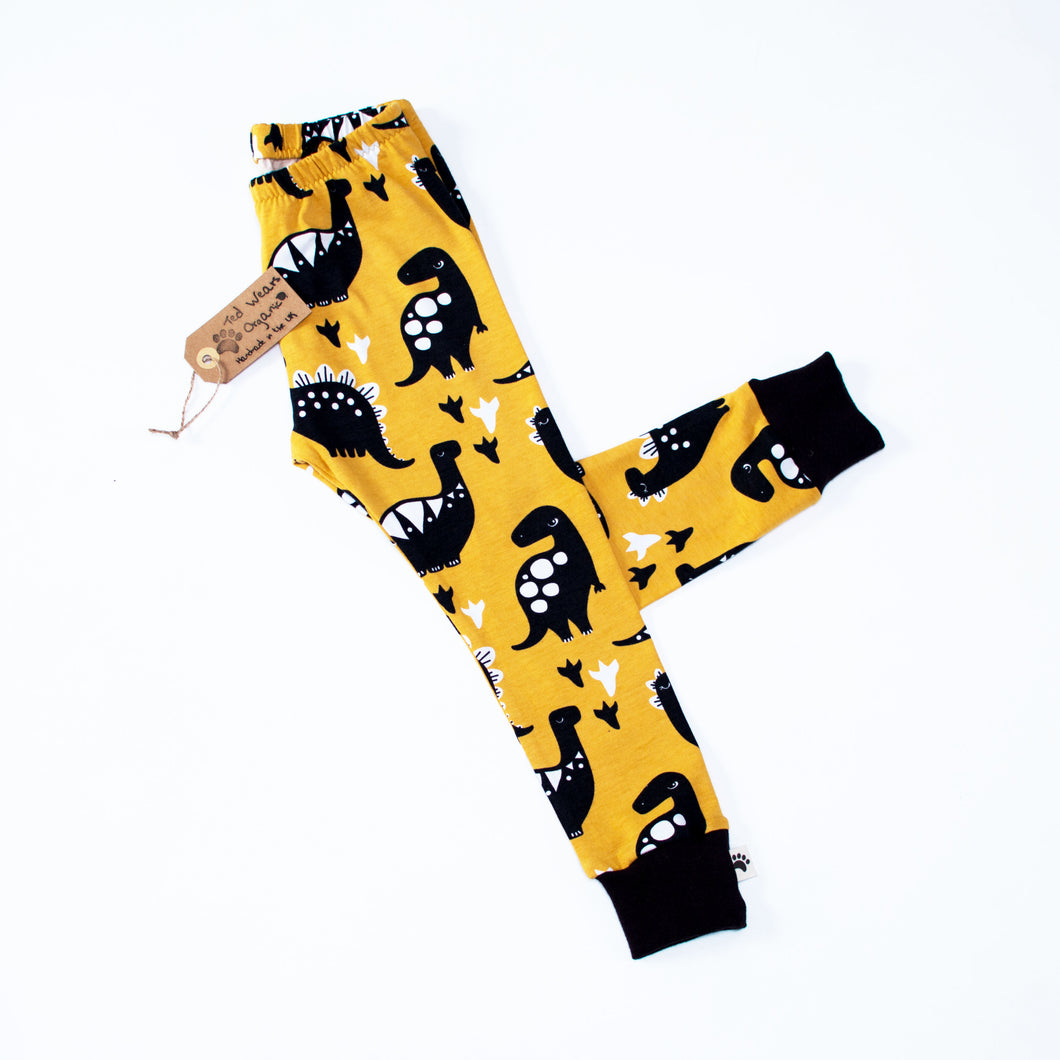 Yellow Dinos Organic Leggings