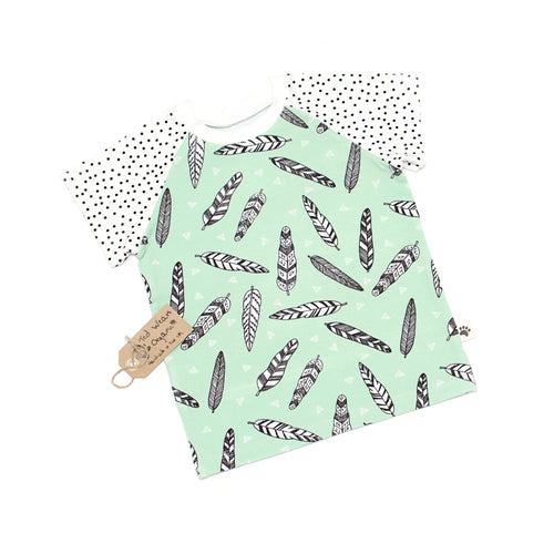 Mint Feathers Organic Short Sleeve T-Shirt