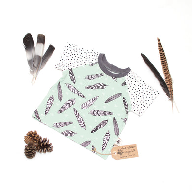 6-9m Mint Feathers Organic Short Sleeve T-Shirt