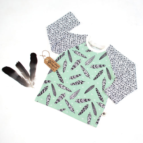 Mint Feathers Organic Long Sleeve T-Shirt