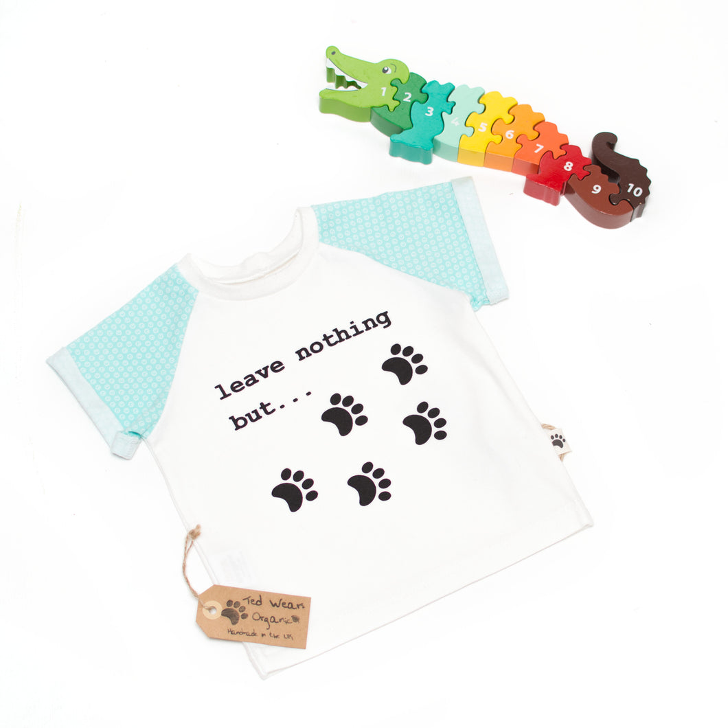 9-12m 'Footprints' Organic Eco-Message T-Shirt
