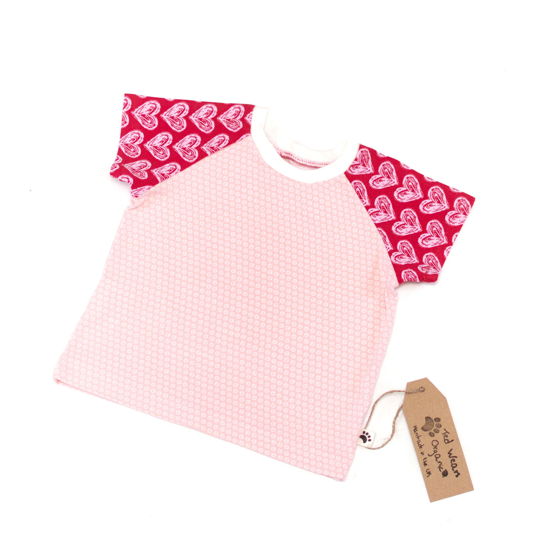 9-12m Hearts Organic Short Sleeve T-Shirt