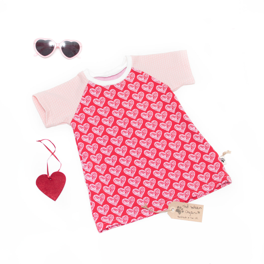6-9m Hearts Organic Short Sleeve T-Shirt Dress