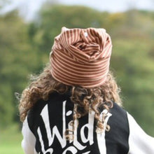 Caramel Stripes Organic Slouchy Snap Hat