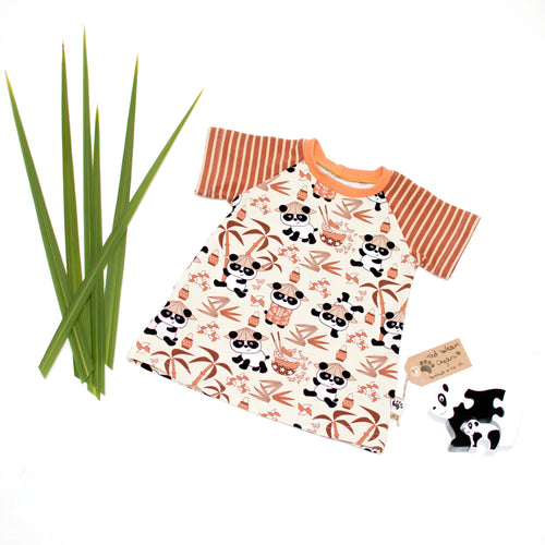 3-6m Pandas Organic Short Sleeve T-Shirt Dress