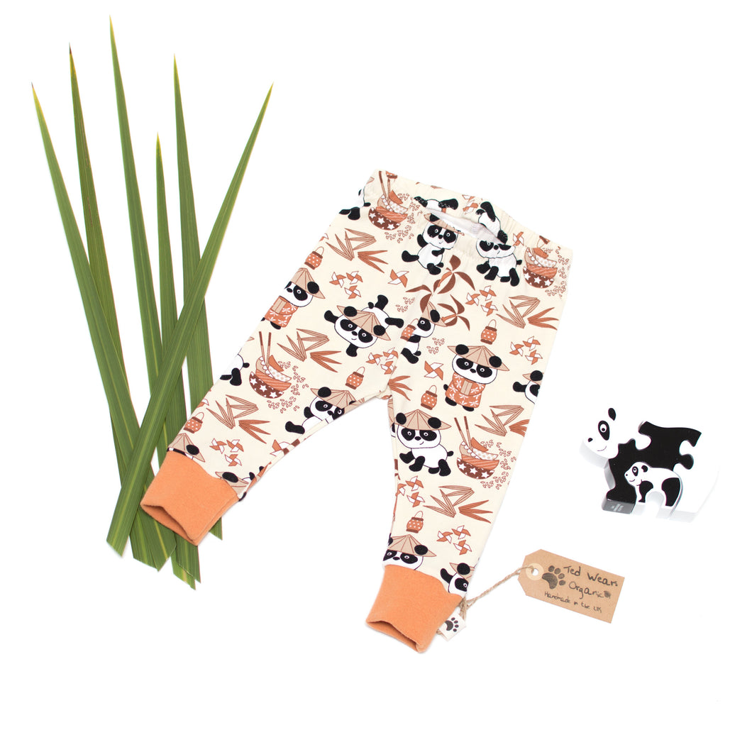 3-6m Pandas Organic Leggings