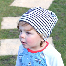 White Black Stripes Organic Slouchy Snap Hat