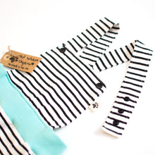White Black Stripes Organic Dungarees