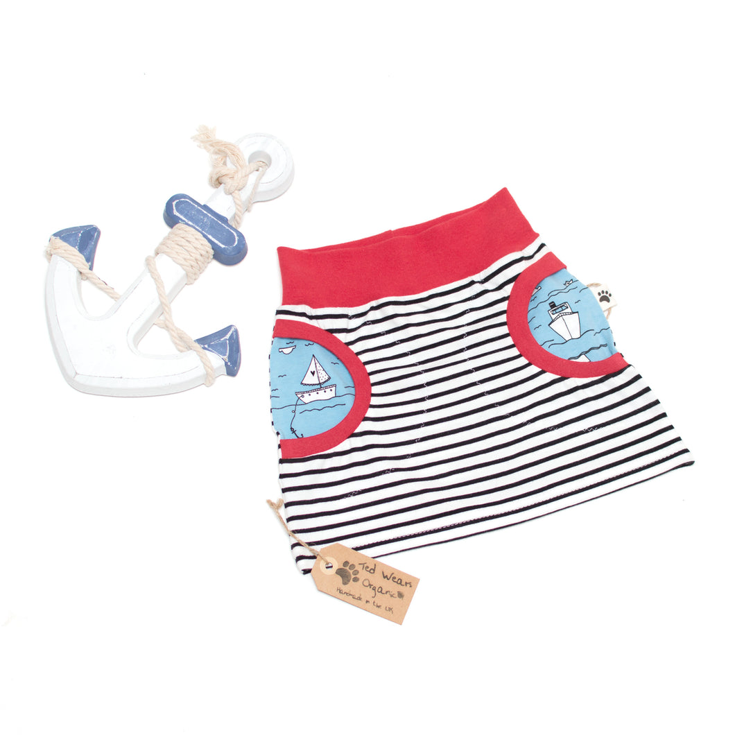 3-4y Over the Sea Organic Pocket Skirt