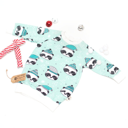 6-9m Winter Panda Organic Jumper Dress