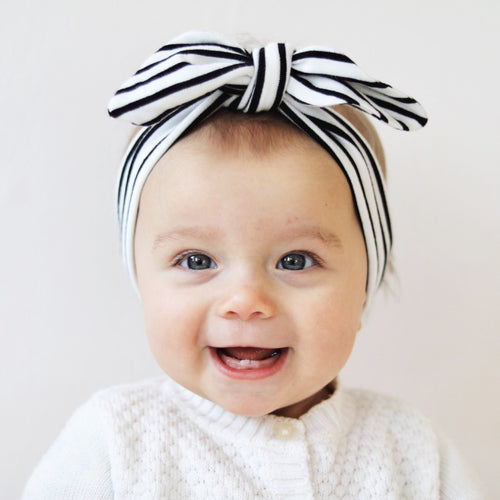 White Black Stripes Organic Headband