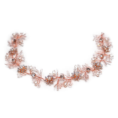 Rose Gold Flower Princess Crystal Headband
