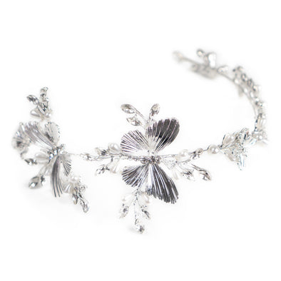 Silver Butterfly Princess Crystal Headband - Crowned Athletics