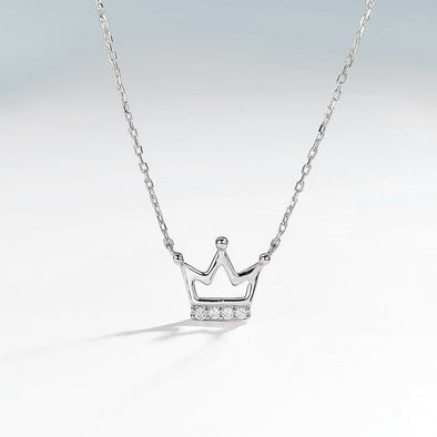 Crown Necklace - White Gold
