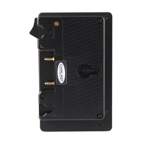 Camlast Gold Mount Battery/ V-Mount Adapter (Black) for use with Red, Arri, Sony, Canon, Panasonic or Blackmagic cameras.  Also use for field production monitors, lights, etc.