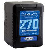 Camlast V-Mount battery 270 watt hours for use with Red, Sony, Arri, Canon, Blackmagic professional cinema cameras, braodcast cameras and accessories