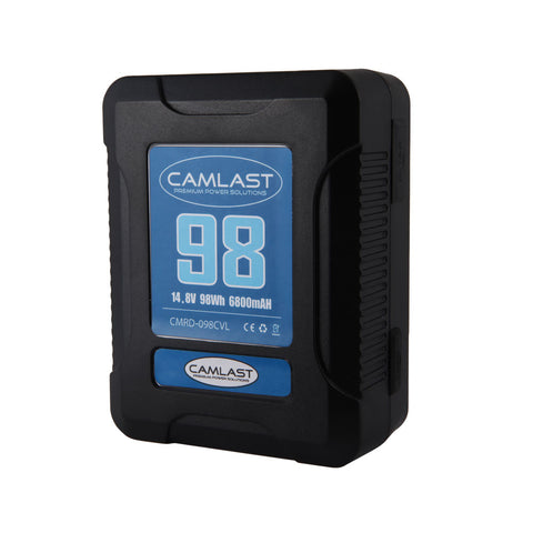 Camlast V-Mount battery 98 watt hours for use with Red, Sony, Arri, Canon, Blackmagic professional cinema cameras, braodcast cameras and accessories