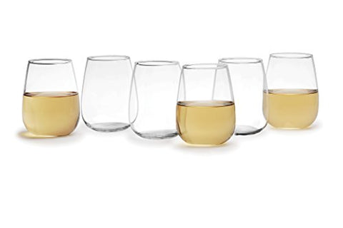 Circleware Biltmore Set of 12 , 15 ounce Stemless White-Red Wine Glasses