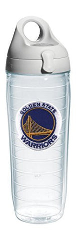 "Tervis 1066765 ""NBA Golden St Warriors"" Water Bottle with Grey Lid, Emblem, 24 oz, Clear"