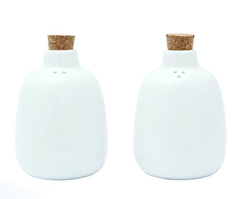 Creative Co-Op White Ceramic Salt and Pepper Shakers Set, White