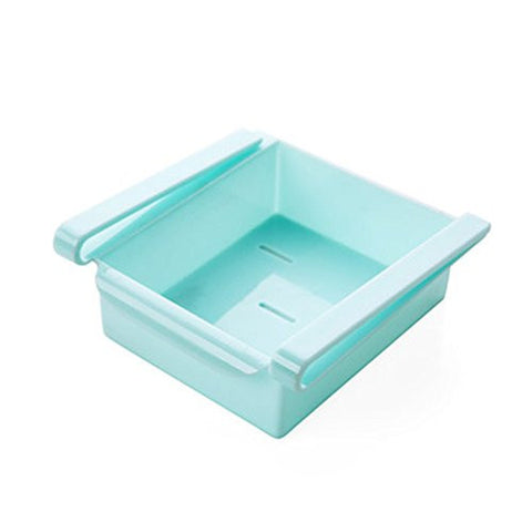 Huayoung Multifunctional Space-saved Plastic Storage Container Rack Refrigerator Sliding Drawer Kitchen Utensil Organizers Set of 2 (Blue)