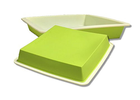 Square Silicone Non-Stick Baking Form Rectangular Form for Kitchen DIY Pudding Cake (Green)