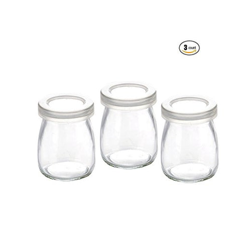 100ml Glass Yogurt Pudding Jars Bottles With Plastic Lids Replacement 3oz Jars for Yogurt Maker - 3Pcs
