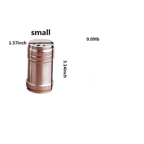 Jia Jia Trade Spice Bottle Stainless Steel Salt Sugar Pepper Shaker Shaker Seasoning Cans 4 Sizes Shaker of Spices, Herbs, Seasonings for Kitchen and Outdoor Barbecue (Small)