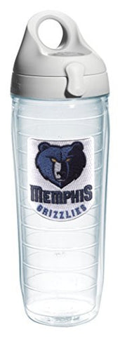 "Tervis 1066771 ""NBA Memphis Grizzlies"" Water Bottle with Grey Lid, Emblem, 24 oz, Clear"