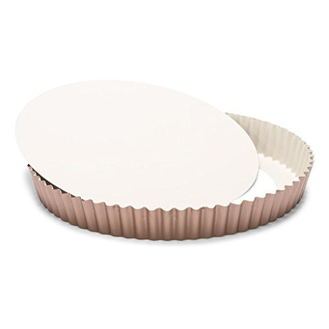 Patisse 03379 Ceramic Round Quiche pan with Removable Bottom with Non-Stick Surface, Cream/Copper