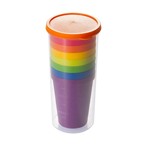 BESTOMZ Unbreakable Reusable Plastic Cups,Rainbow Travel Beverage Tumblers, Juice Drinkware, Set of 8