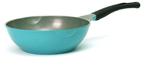 Cheftopf Larose Premium Pan Wok, Specialty Nonstick Ceramic Coating, Aluminum Die-Casting Dishwasher Safe Pen, The Design of the Roses and the Eco-Friendly Coating (Wok 26cm Blue)