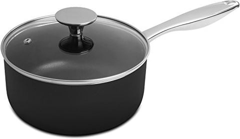 2 Quart Saucepan with Glass Lid - Stainless Steel Handle - 18 x 9 cm - Multipurpose Use for Home Kitchen or Restaurant - Chef's Choice - by Utopia Kitchen