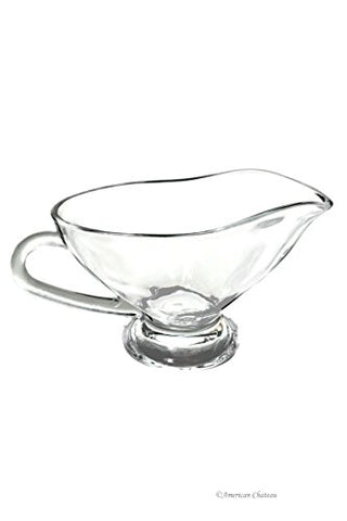 Large 10oz / 300 ml Clear Thick Glass Gravy Sauce Bowl Boat with Large Handle