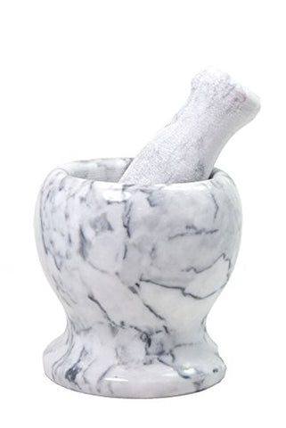 Mortar and Pestle, Made of Solid Marble, Perfect for Grinding Spices, Grains, Nuts & Herbs, Sand (white)