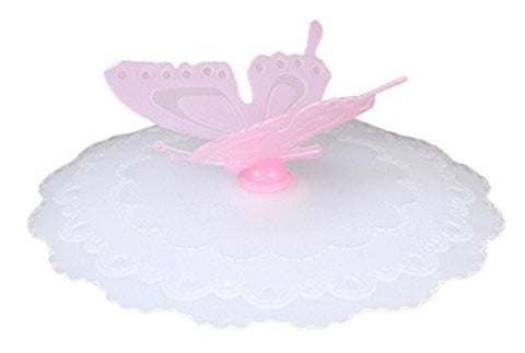 RoseSummer 1Pc Creative Silicone Cup Lid With Bow-knot Flower butterfly Leak-proof Bottle Lid Stopper Cover (Pink)