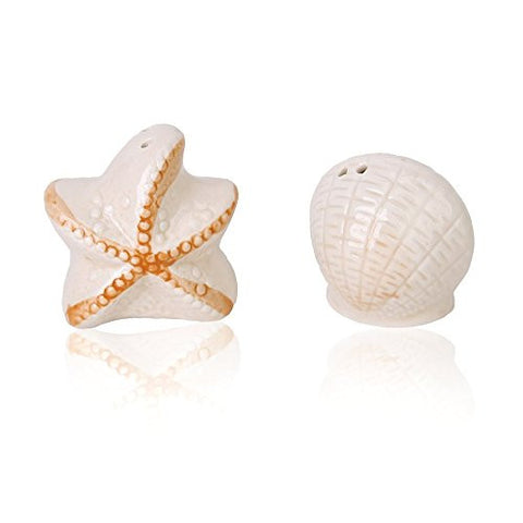Generic Ceramic Salt and Pepper Shakers Shaped Shell and Starfish Wedding Favors