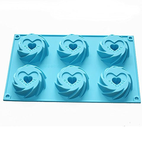 X-Haibei Cyclones Cookie Heart Mini Original Bundt Cake Pan Gelatina Silicone Baking Mold