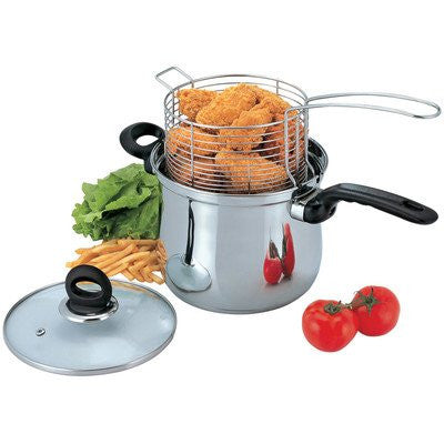 3-Piece Deep Frying Pan Set with Lid
