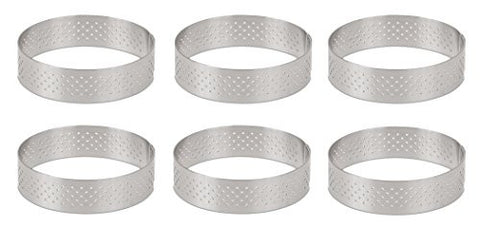 DeBuyer Valrhona Perforated Tart Ring - 2.95 inch Diameter, Set of 6 units
